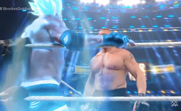Goldberg goes Super Saiyan on Brock Lesner